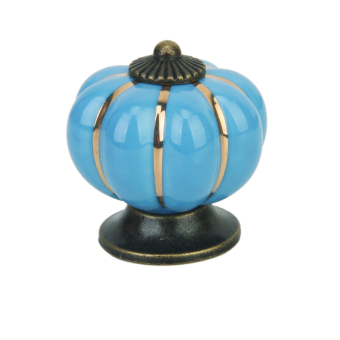 Cute Pumpkin Drawer Pull Knob Cabinet Door Handle Knob Blue