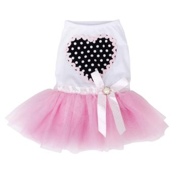 Cute Puppy Pet Dog Dress Lace Skirt Princess Dress Small Medium Dog Pink S