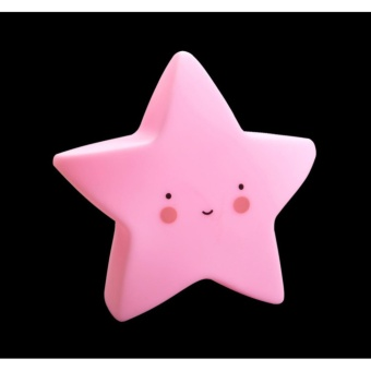 Cute Star Smile Face Soft Vinyl LED Night Light Toy for Baby Kids Bedroom Home Decoration Nursery Lamp(COROMOSE) - intl