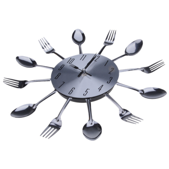Cyber Modern Metal Cutlery Kitchen Utensil Style Wall Clock - picture 2