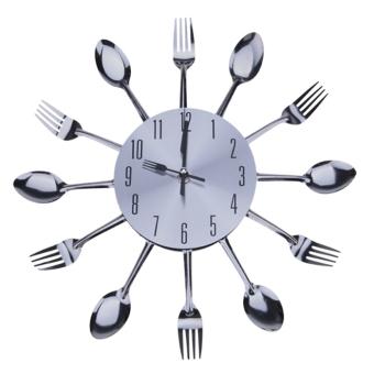 Cyber Modern Metal Cutlery Kitchen Utensil Style Wall Clock