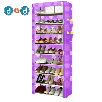D&D 1219 Colorful 9 Layer Cloth Shoe Rack Shoe Cabinet (Purple) Price Philippines