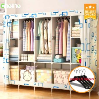 D&D 3333 Large wardrobe Double man simple Modern wardrobe Minimalist fold Steel Non-Woven cloth wardrobe With 4 Hangers