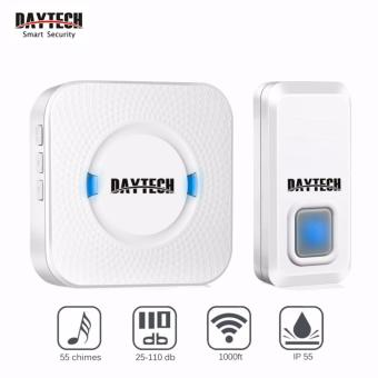 DAYETCH Wireless Doorbell Waterproof 1000 Feet Operating LED Indicator Plug-in and play, Remote button with 55 chime ring tones(1calling + 1 receiver) - intl