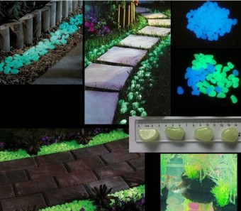 Decorative Gravel Garden or Yard 100 Glow in the Dark Sky BlueNoctilucent Pebbles Stones for Walkway Park Ornaments