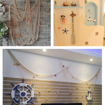 Decorative Nautical Fishing Net Seaside Wall Beach Party SeaShell(Beige) Price Philippines