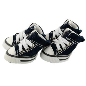 Denim 4 Pcs Puppy Pet Dog Denim Shoes Anti-slip color:Blue size:M -intl