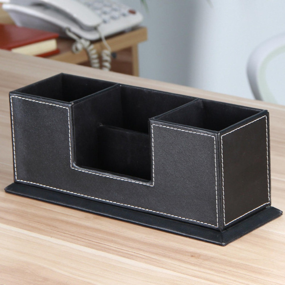 Desktop Pu Leather Storage Box 4 Divided Compartments For Pen Business Card Remote Control Mobile Phone