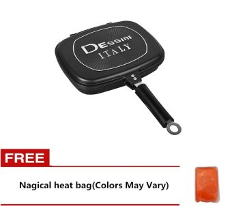 Dessini Double Grill Pan 32cm (Black) Free Nagical heat bag (ColorsMay Vary)