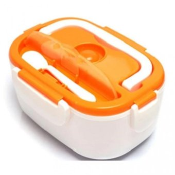 Dessini Double Grill Pan 36cm (Black) With Multifunctional ElectricLunch Box Lunchbox (Orange) - 2