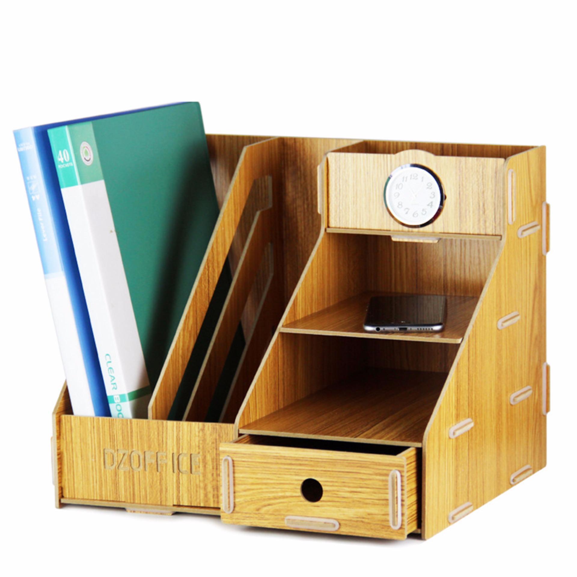 Detachable Wooden Grain Design Office Desk A4 File Rack Desktop Diyorganizer Shelf Book Storage Box
