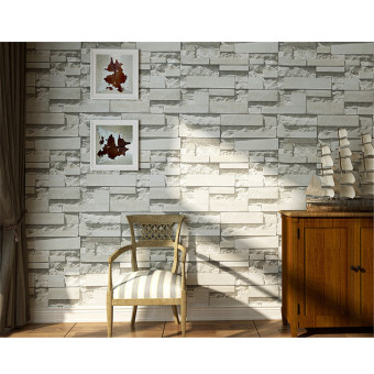 Details about 3D 10m Brick Wallpaper Roll White Textured Non-woven Flocking Home Wall Paper 69142 - intl
