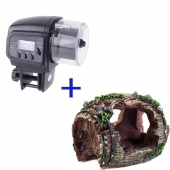 Digital Automatic Aquarium Fish Food Feeder+Fish Tank ArtificialBarrels - intl