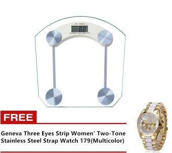 Digital LCD Electronic Glass said the four corners of the bathroom(white) with Free Geneva Three Eyes Strip Women' Two-Tone StainlessSteel Strap Watch 179(Multicolor)