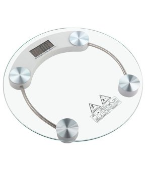 Digital LCD Electronic Tempered Glass Bathroom Weighing Scale (White)