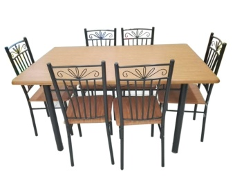Dining Table and Chair Set DS-6+1 (Cherry)