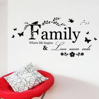 Diotem 2015 Family Flower Butterfly Art Vinyl Quote Wall StickersWall Decals Home Deco - intl Price Philippines
