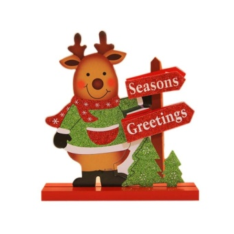 Diotem Christmas Wooden Decorations Moose Snowman - Elk Style - intl
