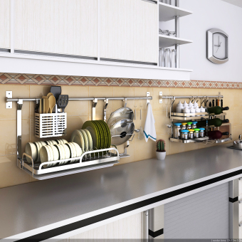 Dishes storage basket seasoning rack kitchen shelf