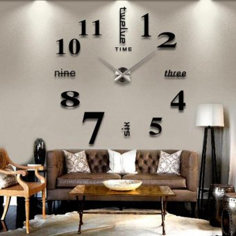 DIY 3D Art Large Acrylic Mirror Wall Clock for Living Room (Black)