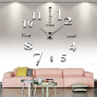 DIY 3D Art Large Acrylic Mirror Wall Clock for Living Room (Silver)