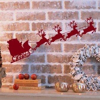 DIY Christmas sled sticker Merry Christmas wall sticker home decor shop store Brown (Intl)