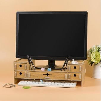 DIY Desktop TV/ Computer Elevated Frame with Drawer (Brown) Price Philippines