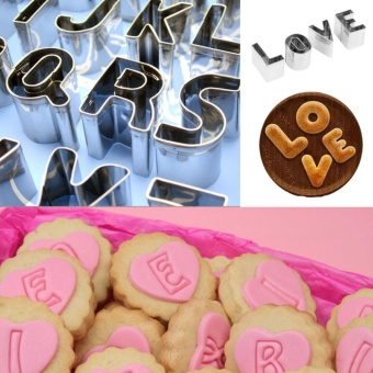 DIY Letter Cookie Mold Mini Cutter Stainless Steel Decorating KitDessert Fondant Cake Biscuit Fruit Play-Doh Arts Crssafts 26PCS -intl - 5