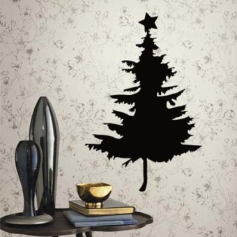 DIY Star and tree Merry Christmas wall sticker home decor shop store Black (Intl)