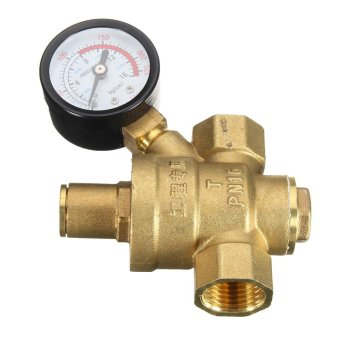 DN15 NPT 1/2'' Adjustable Water Pressure Regulator Reducer With Gauge Meter New - intl