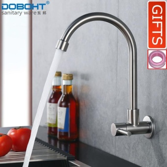 DOBOHT In-wall Mounted Stainless Steel Anti-oil pollution Bathroom Sink Basin Single Lever Cold Tap Kitchen Faucet(Nickle) - intl Price Philippines