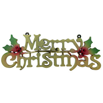 Door Wall Office School Signage Season's Greetings Merry ChristmasSignage Xmas Decor (Gold)