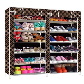Double Capacity 6 Layer Shoe Rack Shoe Cabinet (Chocolate) Price Philippines