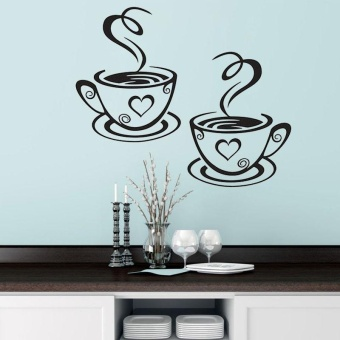 Double Coffee Cups Wall Sticker PVC Vinyl Art Wall Adhesive Room Decor - intl