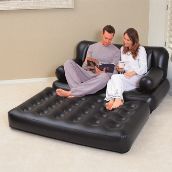 Double Inflatable Sofa Couch Daybed Lounger Airbed Pull-Out SofaCouch Air Bed Mattress(Black)