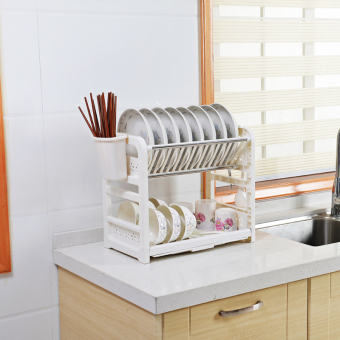 Double Layer plastic kitchen dishes cupboard dish rack