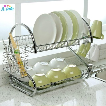 Double Tiers shelf Multi-functional Stype Stainless Steel Dish RackKitchen Storage Boxes Dish Drainer Cup Rack Plates holder