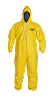 DuPont Tychem Chemical Protection Coverall Suit with Hood Large (Yellow)