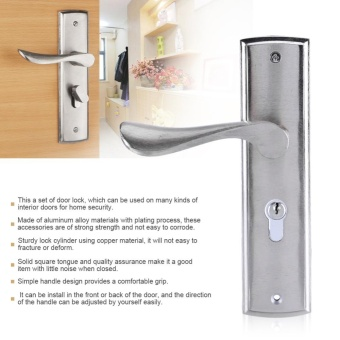 Durable Door Handle Lock Cylinder Front Back Lever Latch Home Security with Keys - intl