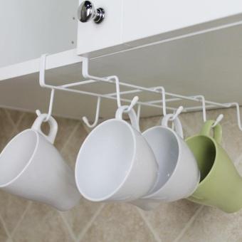 Eachgo Cups Storage Under Cabinet Shelf Mug Rack Metal Holder Hanging  Kitchen Organizer   Intl ...