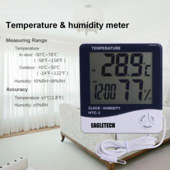 EagleTech HTC-2 Digital LCD Temperature Humidity Meter Clock Hygrometer Thermometer Indoor and Outdoor