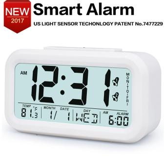 Easy to Set Alarm Clock, Best Alarm Clock for Heavy Sleepers, Soft Light Sensor Technology, White alarm clock, Kids' Room Clocks, Home Desk Bedside Clock for Teens or Kids,White - intl