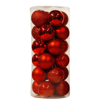 Easybuy MultiColor 24pc 4cm Christmas Decoration XMAS Round Balls Tree Hanging Ornaments Red (Intl)