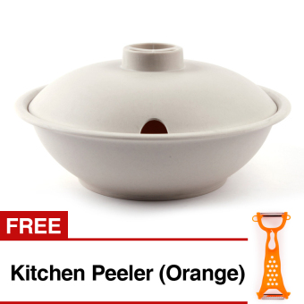 Edmark Serving Bowl with Cover (White) with Free Kitchen Peeler(Orange)