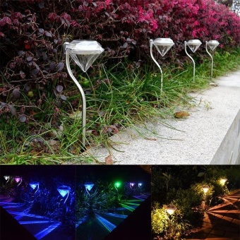 EGC 4Pcs/Set Outdoor Solar Power LED Diamond Garden Light Path Wall Landscape Mount Fence Lamp Light(Colorful) - intl