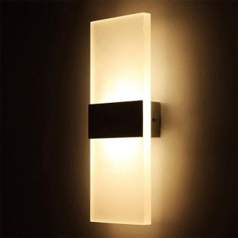 EGC LED Wall Light Bedroom bedside lamp Hotel Hallway Light 14*6cm(Right angle+Black aluminum+WarmWhite light) - intl
