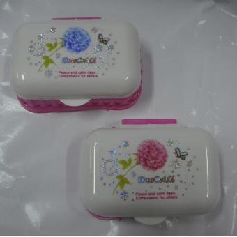 Elegant Style Soap Case with Cover Rectangular Pink Set of 2