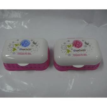Elegant Style Soap Case with Cover Rectangular Pink Set of 2 - 2