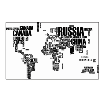 ELENXS World Map English Letters Wall Sticker (Black)