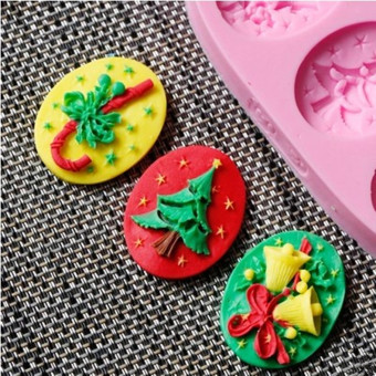 Embossed silicone mold baking cake Christmas tree bell